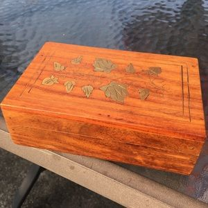 Trinket Box with Gold Metal Inlay Handmade Wooden